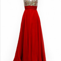 KC131554 Red Jeweled Prom Dress by Kari Chang Couture