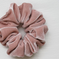 Free shipping silk hair scrunchie. Hypoallergenic hair accessories. Pink silk velvet hair scrunchie. Pink velvet scrunchie.