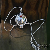 """Sterling Silver Vampire Diaries Jewelry Locket Elena Necklace VERVAIN FILLED with 18"""" Snake Chain - Both Pendant and Chain are 925 Silver"""