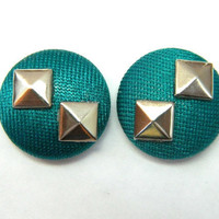 Button Earrings Teal Blue Shiny- Silver Studs
