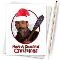 The Walking Dead. Pop Culture. Christmas Card. Blank Card. Gift For Wife. Nerd Christmas Gift. Best Friend Necklace. Blank Cards. Merry XMAS