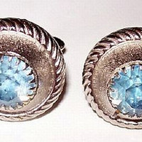 "Mens Cuff Links Sky Blue Rhinestones Silver Plated Metal Round Button Style 1"" Vintage"