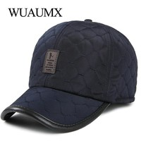 Trendy Winter Jacket Wuaumx Fall Winter Thicker Baseball Caps For Men With Earflaps Warm Earmuffs Snapback Caps For Men Ear Protection Hat  AT_92_12