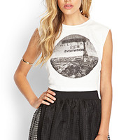 FOREVER 21 Imagination Cropped Tee Cream/Black