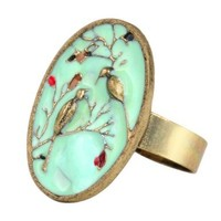 Retro Blue Glazed Tree Flower Bird Pattern Adjustable Ring Vintage:Amazon:Jewelry