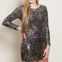 I'm Your Puppet Sequin Dress - Black and Gold