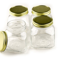 "Quadro Firenze Jar, 7 Oz., 1.8"" Opening, Plastisol Lined Gold Metal Caps, 4 Pack"