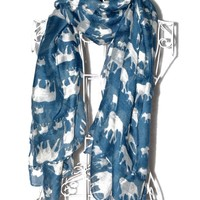 GERINLY Animal Print Scarves: Cute Elephant Pattern Wrap Scarf For Women (Brown)