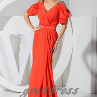 Custom Handmade Cheap Sexy Orange Short Sleeve Ruched Floor Length Formal Long Evening/Prom/Party/Bridesmaid/Homecoming/Cocktail Dress