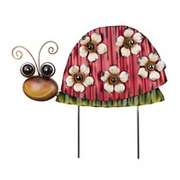 Red Ladybug with Flowers Garden Stake