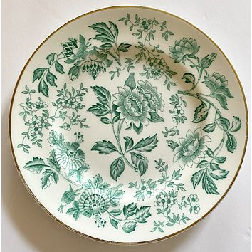 Rare Wedgwood Berkeley Hotel Teal Green Transferware Plate Jacobean Flowers