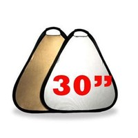 PRS6011B 30 Inch Portable Triangle Reflector with Handle Gold Silver Last Call CLOSEOUT