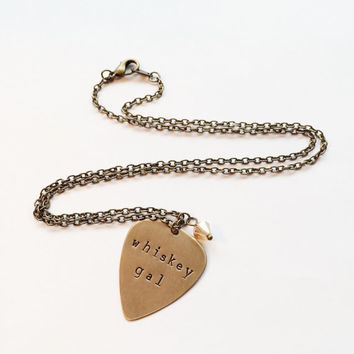 "Metal Guitar Pick ""Whiskey Gal"" Necklace, Hand Stamped Vintaj"