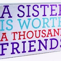 About Face Designs Wooden Wall Décor Plaque, 3.75 by 5.75-Inch, A Sister is Worth a Thousand Friends