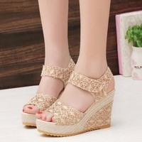 Women Sandals Open Toe Fish Head Fashion platform High Heels Wedge shoes
