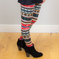 Winter Faux Fur Leggings - Brown Multi Color
