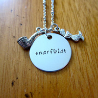 """Ariel Inspired Little Mermaid Necklace. Little Mermaid """"Snarfblat"""". Hand stamped. For women or girls. FREE shipping."""