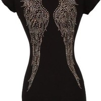 V-neck Tee Cotton T-shirt Top Studded Crystal Angel Wings Junior Plus Size, Medium, Black