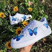 Nike Air Force 1 Low Print Women and Men casual cushioning shoes blue butterfly