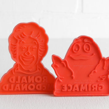 Vintage 80s McDonalds Cookie Cutters, Ronald McDonald and Grimace Red Plastic Cookie Cutters
