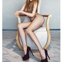 2016 Sexy Lace Neck Fishnet Body Stocking Sexy Lingerie Nets Sex Costumes Mesh Fishnet Open Crotch Bodystocking plus size ST130