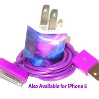 Galaxy Design iPhone Charger with Color USB Cable