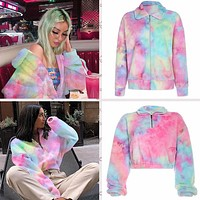 Autumn and winter new tie-dye wool and velvet colored hoodie jacket