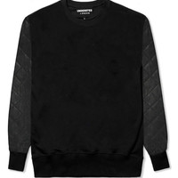 Quilted Leather Sleeve Sweatshirt