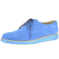 Mens Casual Shoes Lace Up Oxford Two Tone Loafers Blue