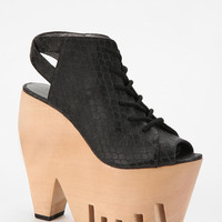 Grey City Lace-Up Wooden Platform Wedge