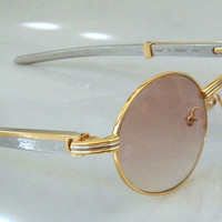 Oval Round Retro Sunglasses Silver Metal Frame, Beige Lens. Great gift for Him. Gorgeous sunglasses!