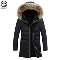 Asesmay New Arrival Men Winter Jacket White Duck Down Jackets Men's Goose Coat Hooded Winter Down Coat High Quality Real Fur