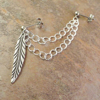 Leaf Double Chain Cartilage Earring