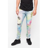 Rainbow Spray Painted Patched Jeans