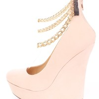 Nude Chain Ankle Strappy Wedges Faux Suede