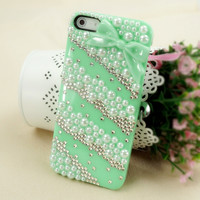 Rhinestone and Pearl Lace Case with Bowtie for iPhone