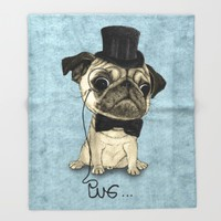 Pug; Gentle Pug (v3) Throw Blanket by Barruf