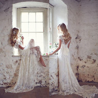 BIG SALE Soft Boho Wedding Dresses with Bow Sash Cap Sleeves Lace Bridal Gowns