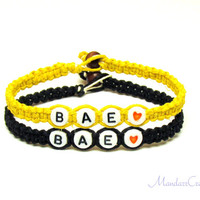 BAE Bracelets, Set of Two, Black and Yellow Hemp Jewelry for Couples or Best Friends