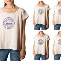 Women's Stamps of famous Cities Printed cotton T-shirt  Tee WTS_01