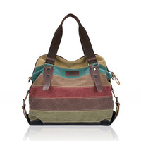 Women Canvas Bags Striped Design bag beach Famous women handbag ladies shoulder bag vintage bolso CF