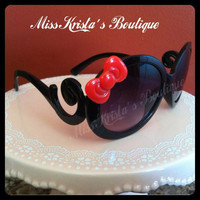 Hello kitty sunglasses black red bow frame retro vintage butterfly style sunglasses