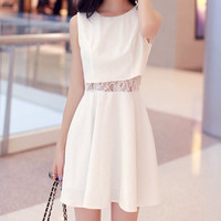 White Sleeveless Dress with Lace Detail