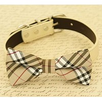 Plaid Burly wood Dog Bow Tie attached to collar