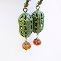 Green Patina Filigree Oval & Orange Picasso Czech Glass Bronze Drop Earrings
