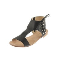 Madison Harding Womens Glossina Leather Lace-Up T-Strap Sandals