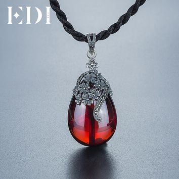 EDI Vintage 925 Sterling Thai Silver Chalcedony Agate Pendant Necklace For Women Green Jade Fine Jewelry