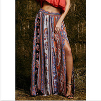 Summer Style Bohemian Boho Floral Print Sexy Open Side Split Beach Skirt