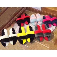 Ugg Sells Casual Women's Flip-flops, Wool Slippers With Contrasting Colors Shoes
