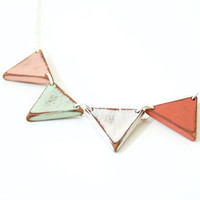 Small Wooden Bunting Necklace - Hand-painted in Pastel Colors - MADE TO ORDER